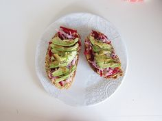 garlic hummus, shredded beets and radish, avocado, balsamic, salt,
