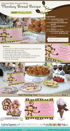girl monkey theme baby shower, monkey bread, baby girl shower monkey theme, bread recip, girl monkey baby shower