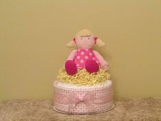Polka Dot Girl Diaper Cake/Centerpiece  Ship Ready by CaringCakes, $25.00
