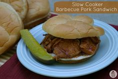 Slow Cooker Barbecue Pork Sandwiches:  2 1/2 pound Pork Roast – I used Center Cut Pork Loin  1 cup barbecue sauce – I used Sweet Baby Ray's  1/2 cup peach or apricot preserves  1/3 cup green bell pepper, chopped  1 small onion, chopped  1 tablespoon Dijon mustard  2 teaspoons brown sugar, packed  King's Hawaiian Sandwich Buns