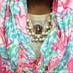 Lilly Scarf and a Monogram Necklace