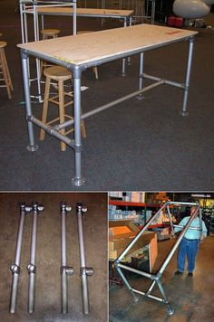 """Pipe-based furniture: """"In addition to providing Instructables-like photos and videos of the process behind each piece, Chris also posts freely-downloadable PDFs and/or Google Sketchup files so you can duplicate or tweak his efforts."""""""