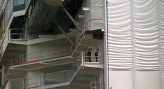 Close-up of Royal Caribbean International's Anthem of the Seas' first megablock outside Hall 6 at Meyer Werft Papenburg.