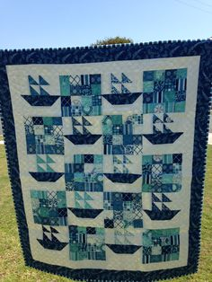 Sail boat baby quilt for Jake