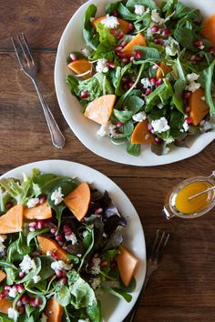 Persimmon, Pomegranate and Ricotta Salad | Fall Farmers Market Salads - What's Gaby Cooking