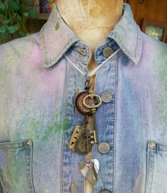 Urban Industrial Whimsical Key To The Garage Altered Art Charm Druzy Statement Necklace. $18.50, via Etsy.
