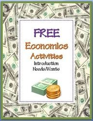 FREE Needs & Wants Economics Activities~ Four (4) ready-to-use worksheets with teaching suggestions and full-sized answer keys -AND- a reading selection and word search that introduces basic economics concepts. Just print and go! This lesson is part of a companion product. Check it out @ http://www.teacherspayteachers.com/Product/Economics-Activity-COMBO-Pack-8-NO-PREP-Printables #economicslesson