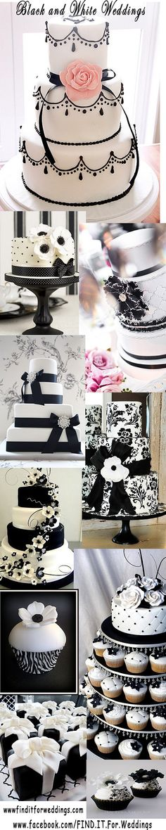 #Black and white is always a striking combination and these #wedding #cakes are no exception www.finditforwedd... cupcak, white cakes, top cake, wedding cakes no fondant, white wedding cakes, black and white wedding cake