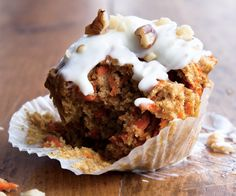 Carrot-Cake Cupcakes by womenshealthmag: Healthy comfort. #Cupcakes #Carrot #Healthy