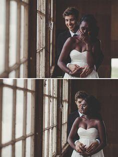 Beautiful interracial couple on their wedding day #love #wmbw #bwwm♕