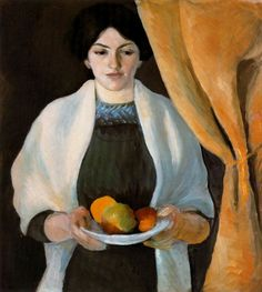 August Macke - Portrait with Apples, Wife of the Artist