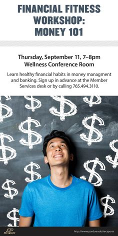 This FREE workshop will provide an overview of money management principles and banking options, including checking and savings accounts. #FinanciallyFit #MoneySavvy #BankSmart #PEFCU #PURecSports #Purdue