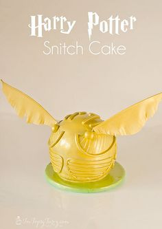 a full tutorial for creating your own Harry Potter birthday party golden snitch cake by imtopsyturvy.com, via Flickr
