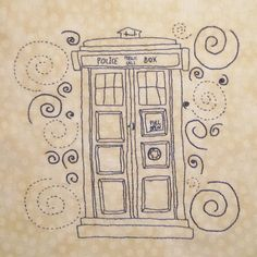 The TARDIS, week 12 of the Doctor Who Stitch Along on Fandom in Stitches. A free hand embroidery pattern designed by Angelica Rodriguez. fandominstitches.com