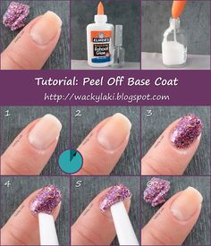 Tutorial: Peel Off Base Coat - paint a coat of Elmer's Glue and let dry completely before applying hard-to-remove polish like Glitter polish.  When you're ready to remove just use a cuticle pusher to push it all off.  What a great idea! - hope it's as easy as it looks! I love glitter polish but loathe removing it.