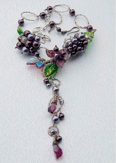 Purple Beaded Necklace Bridal Jewelry by CherylParrottJewelry,