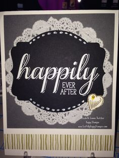 card made with the Stampin Up big news stamp set, white heat embossing. Wedding / engagement congratulations card