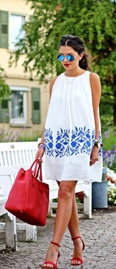 white + blue embroidered dress