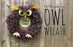 With just a few supplies from a craft store, anyone can make this simple owl wreath!
