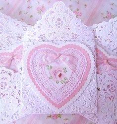 #DIY #crafts #Valentine's ides #pink hearts on laser cut envelopes ToniK ⓦⓡⓐⓟ ⓘⓣ ⓤⓟ #Victorian