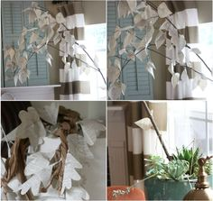 Whimsical DIY tree with newsprint leaves.