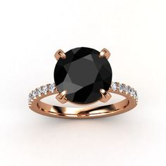 YES! Round Black Diamond with Rose Gold Diamond Band