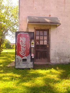 Soda Machine outside abandoned service station in Carlisle, PA