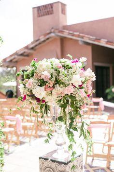 Wedding Ceremony   California Garden Wedding Layered with Pink.