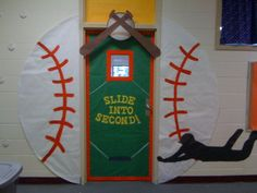 classroom door baseball slide into second school door