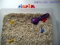 """Name Recognition Game in a Sensory Tray ("""",)"""