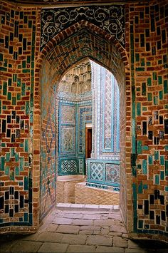 """Uzbekistan. """"...the Shah-i-Zinda remains Samarkand's most moving sight. The name, which means 'Tomb of the Living King', refers to its original, innermost and holiest shrine - a complex of cool, quiet rooms around what is probably the grave of Qusam ibn-Abbas, a cousin of the Prophet Mohammed.... A shrine to Qusam existed here on the edge of Afrosiab long before the Mongols ransacked it in the 13th century. Shah-i-Zinda began to assume its current form in the 14th century..."""