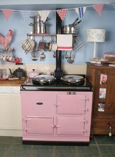 Pink AGA.  :).  #kitchen