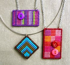 Needlepoint Jewelry by CraftyPod, via Flickr