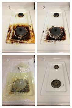 Cleaning your stove top. All you need is Ammonia, Cling Wrap, paper towels and a scour pad!