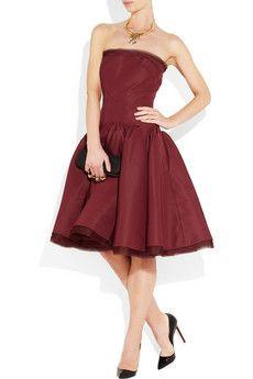 ZAC POSEN  Strapless silk-faille dress