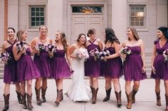 ladies in plum colored dresses from J.Crew Photography: Aves Photography  - www.avesphotographicdesign.com  Read More: http://www.stylemepretty.com/2014/06/10/purple-infused-southern-wedding/