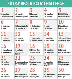 30 day crunch challenge chart pic | 30 Day Beach Body Challenge - 30 Day Fitness Challenges - P.S:You can lose weight fast using these natural drops from-> XRasp.com