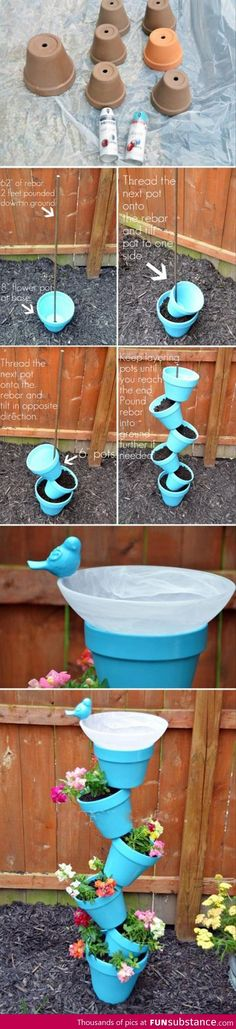 Planter idea diy planter, potted plants, diy flower garden, bird feeders, bird baths, herbs garden, flower pots, diy bird bath planter, small space gardening