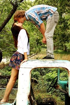 i want cute couple picture like this but with him sitting and showing more of the old truck