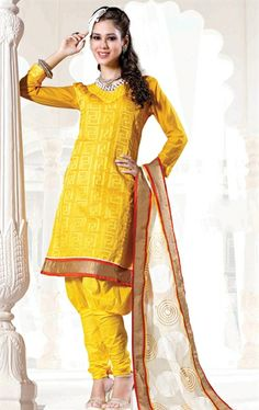 Picture of Pretty Yellow Color Indian Designer Salwar Kameez