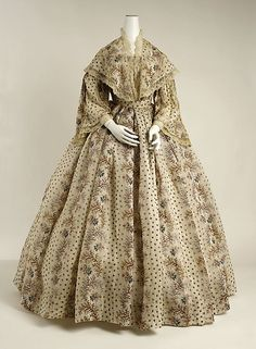 Dress 1850, French, Made of cotton cotton dress, day dresses, dress 1850