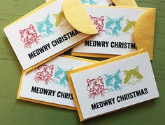 Meowry Christmas card set, $5