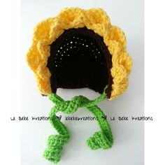 Crochet baby prop sunflower hat