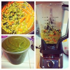 Baby Food Purée Carrots, peas, spinach, brown rice and quinoa and chicken broth.   #tubiebaby