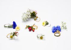 Flower stems thread through holes in these rings by graduate designer Gahee Kang, turning the silver and gold jewellery into posies