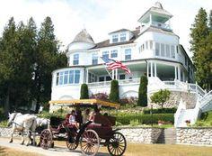 mackinac island, hors, michigan, island getaway, painted houses, dream homes, dream vacations, islands, place