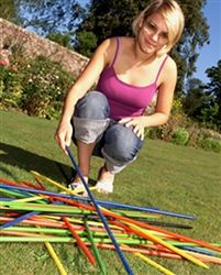 Giant Pick-up Sticks  Create your own with store bought dowels.  1 black, 7 red, 7 blue, 8 green, 7 yellow.