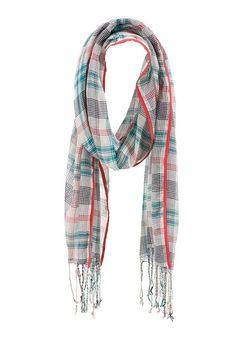 Contrast trim plaid scarf with fringe (original price, $14) available at #Maurices