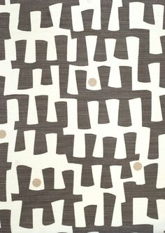 Berbeck Fabric Linen Union Berbeck linen fabric is a fresh contemporary design with dark grey / brown organic shapes hand printed on a natural cloth.
