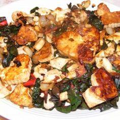 Caramelized Tofu with Swiss Chard by @TofuXpress #Vegan